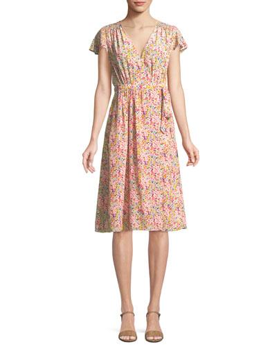 Margo Floral-Print Silk Wrap Dress