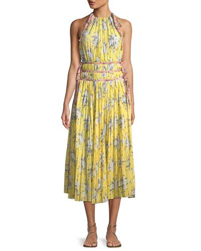 Sleeveless Halter Pleated Dress w/ Contrast Ties
