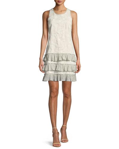 Garden-Eyelet Sleeveless Linen Dress