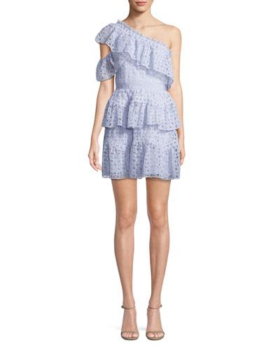 One-Shoulder Organza Ruffle Mini Dress