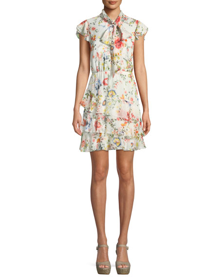 Image 1 of 1: Leslie Tie-Neck Floral-Print Silk Ruffle Dress