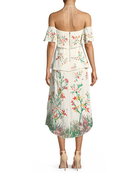 Golda Halter Embroidered Tiered Cocktail Dress