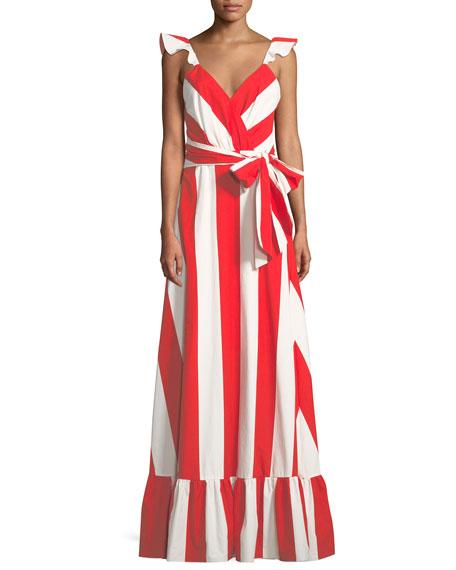 0cd00ac10ef0 Alice + Olivia Fernanda Flutter-Straps Wide-Stripe Cotton Maxi Dress