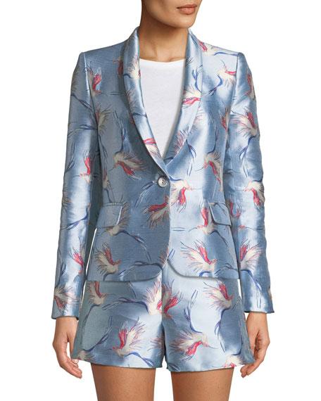 Macey One-Button Bird-Print Satin Jacket