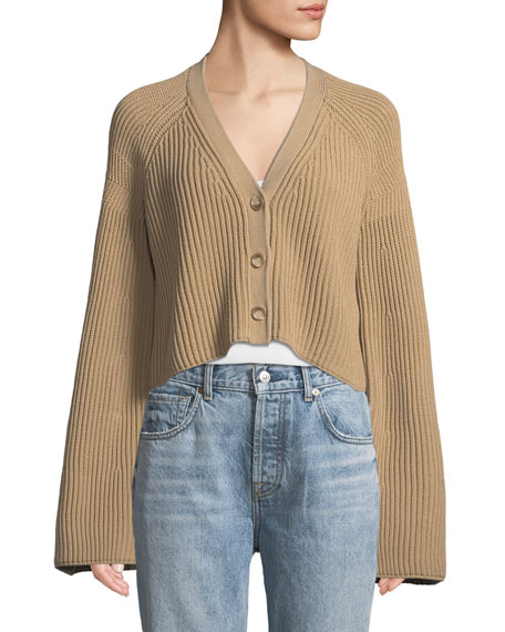 Cabot Bell-Sleeve Knit Cropped Cardigan