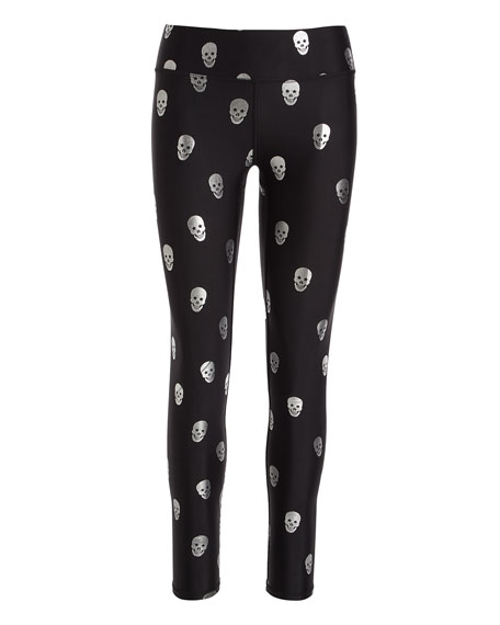 Starry Eyed Skull Foil Tall Band Leggings