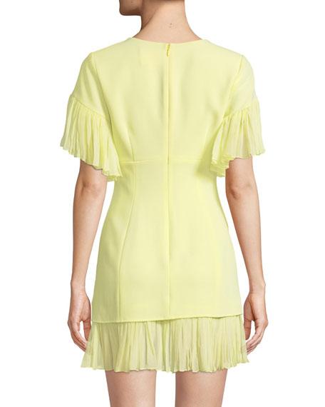 Rosaria Crewneck Short-Sleeve Sheath Dress w/ Pleated Chiffon Trim