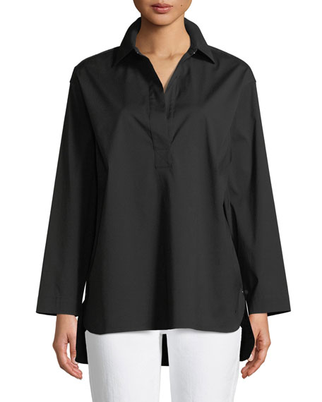 Beckett Italian Stretch-Cotton Blouse