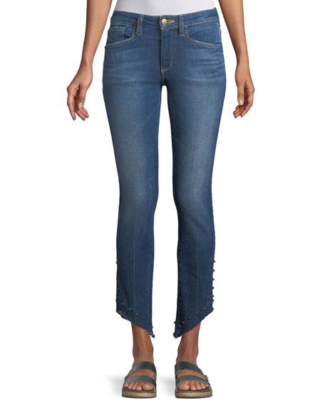 ACYNETIC Loren Kaylor Skinny Jeans W/ Grommet Asymmetric Hem, Dark Blue