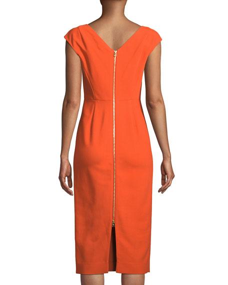 Cap-Sleeve Midi-Length Sheath Dress