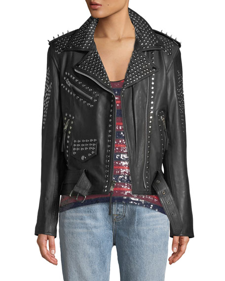 LAURIE LEE LEATHERS You Don'T Own Me Studded Leather Biker Jacket in Black