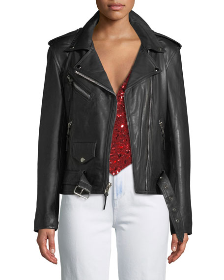 LAURIE LEE LEATHERS Not The Boss Of Me Leather Moto Jacket in Black