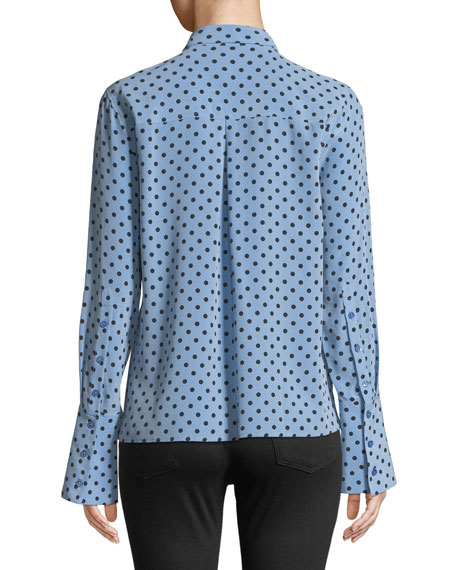 Huntley Dot-Print Silk Boyfriend Crop Shirt