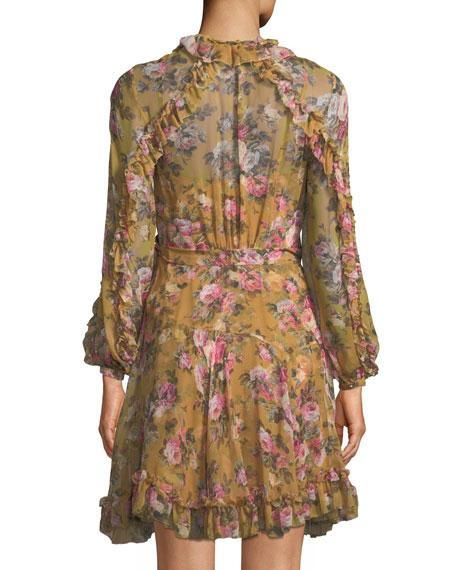 V-Neck Long-Sleeve Floral-Print Silk Wrap Dress