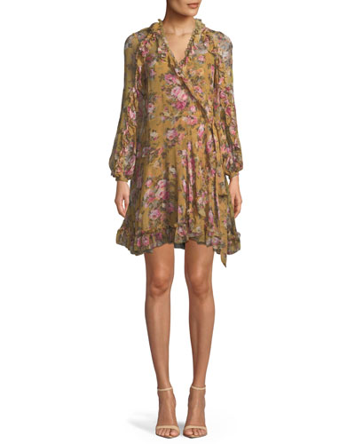 V-Neck Long-Sleeve Floral-Print Silk Wrap Dress
