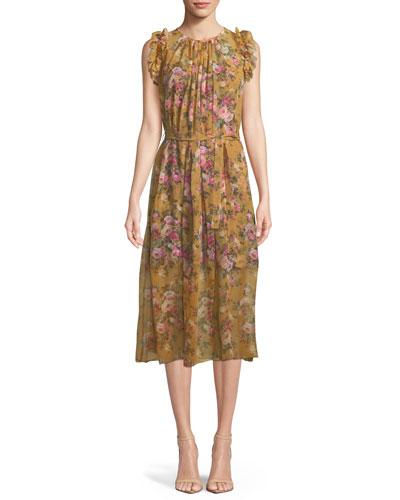 Sleeveless Belted Floral-Print Silk Dress w/ Ruffled Trim