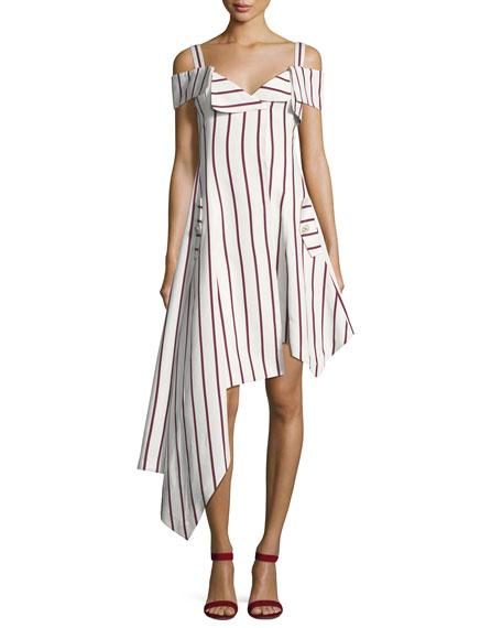 Alexis Daniele Striped Asymmetrical Dress