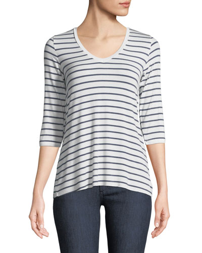 Soft-Touch 3/4-Sleeve Striped Top