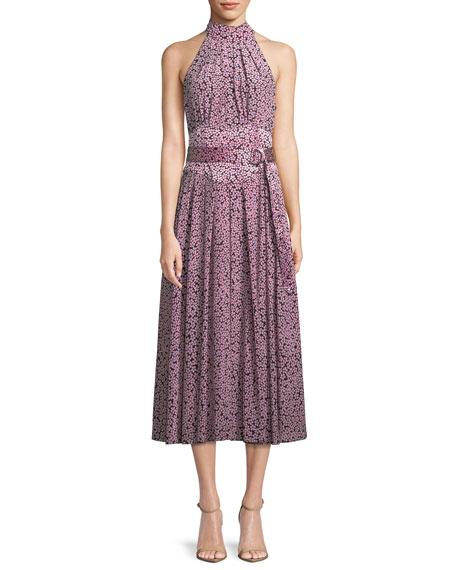 Halter-Neck Floral Belted Dress