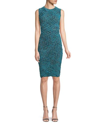 Sleeveless Ruched Mesh Dress