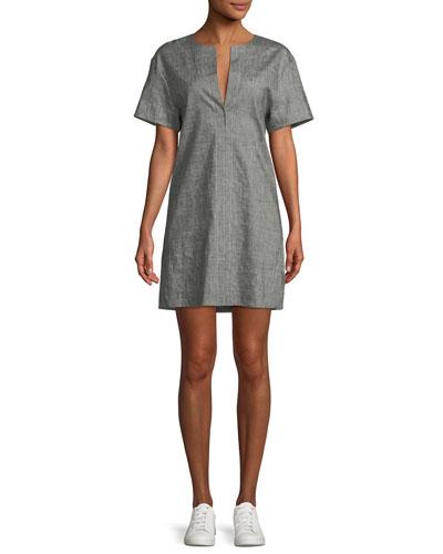 Sharkskin Short-Sleeve Shift Dress