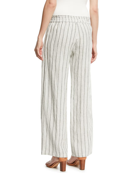 Sahira Striped Linen Wide-Leg Pants