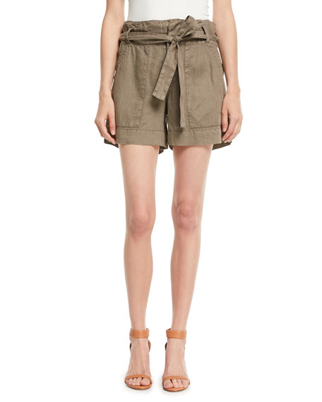 Daynna Belted Linen Cargo Shorts in Jungle