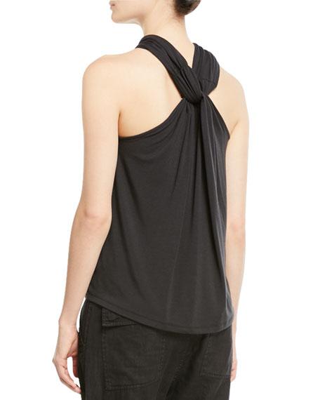 Quintella Twisted-Collar Sleeveless Top