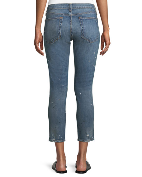 Dre Mid-Rise Slim Straight-Leg Ankle Jeans w/ Splatter Paint