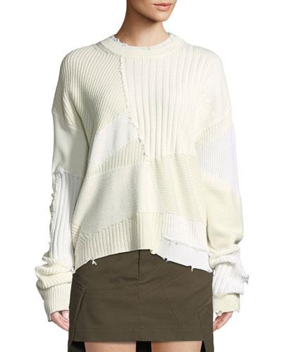 Ribbed Oversized Crewneck Sweater