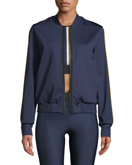 Silk Collegiate Side-Stripe Bomber Jacket