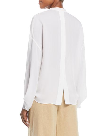 Envelope-Sleeve Silk Split-Back Popover Top