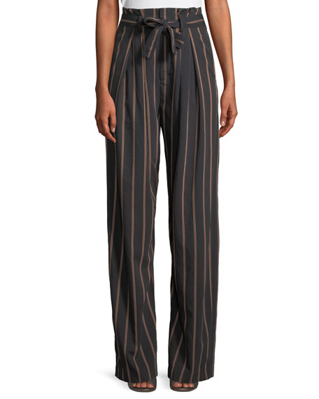Belted Striped Crepe Wide-Leg Pants in Navy from Saks Off 5TH