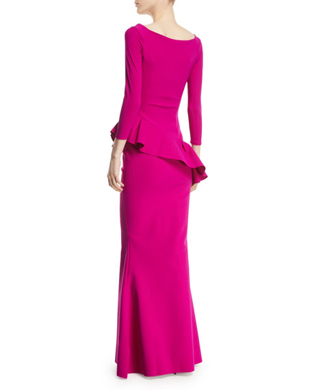 Cicco Mermaid Gown w/ Asymmetric Peplum