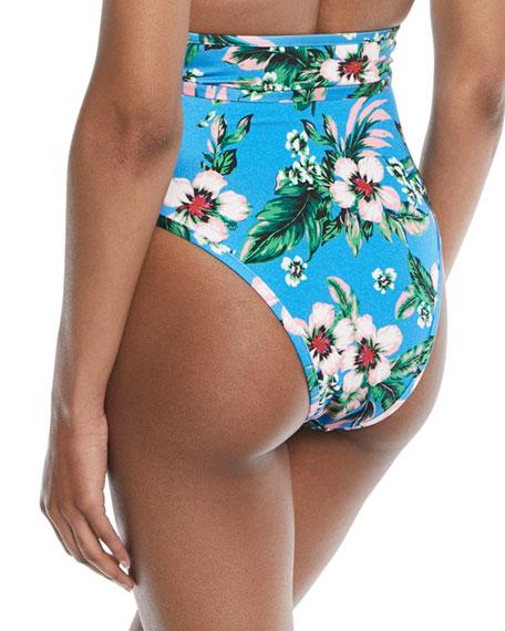 High-Waist Cheeky Floral-Print Swim Bikini Bottoms