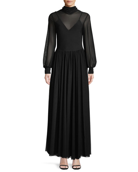 High-Neck Long-Sleeve Maxi Dress, Black