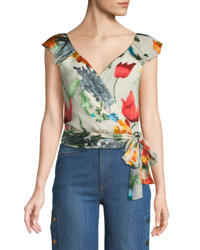 Nicole Floral-Print Cold-Shoulder Wrap Top