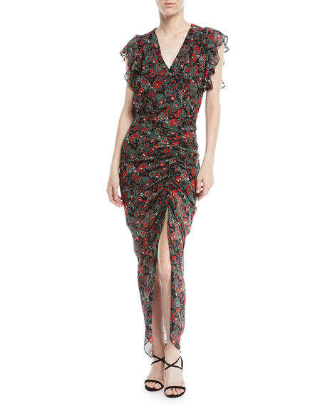 Cecile Ruched Floral-Print Silk Dress