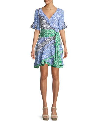 Ditsy Floral Textured Silk Ruffle Mini Dress