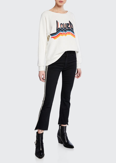 Insider Crop Step Fray Striped Jeans in Guilty Racer