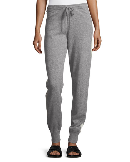 Image 1 of 1: Cashmere Athletic-Stripe Lounge Pants