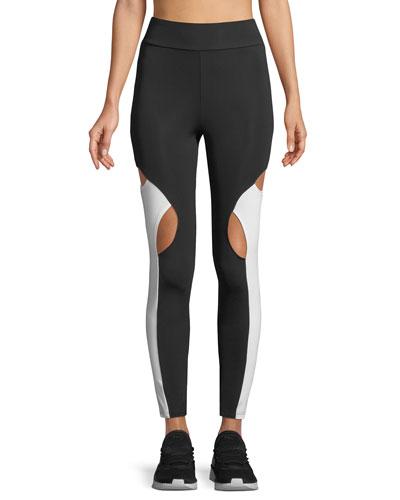 High-Waist Cutout-Knee Active Leggings
