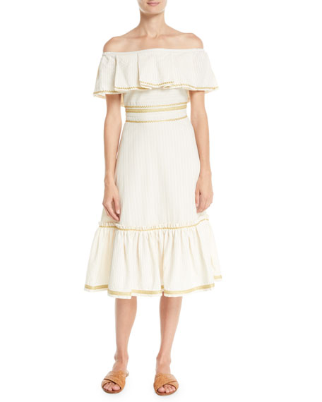 ZEUS AND DIONE Off-The-Shoulder Embossed Striped Cotton Midi Dress in Beige