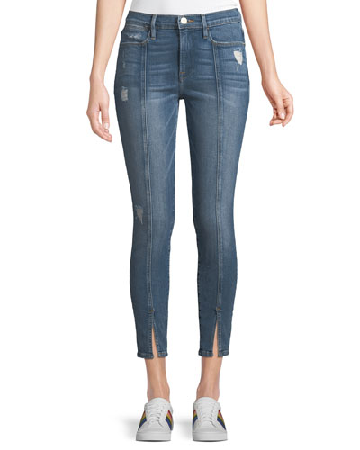 Le High Skinny Felt Split Distressed Cropped Jeans