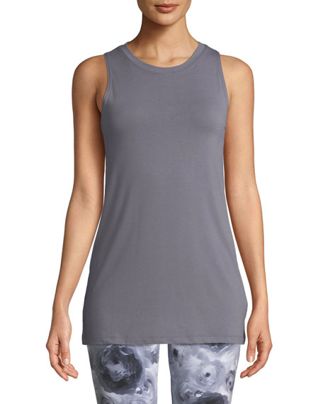Image 1 of 1: Braided-Back Crewneck Jersey Knit Tank
