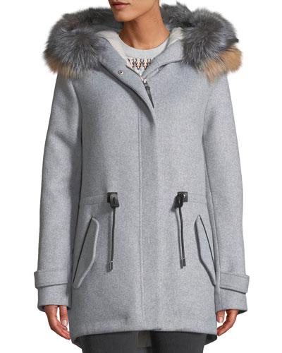 Alexa Wool-Blend Trench Coat w/ Tricolor Fur