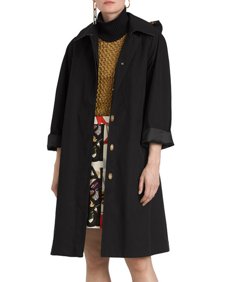 Burberry Hooded Swing Raincoat w  Check Hood 93e7f5b8767
