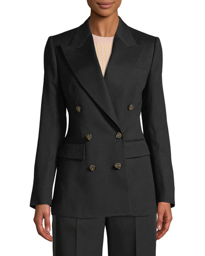 Double-Breasted Crest-Button Evening Jacket