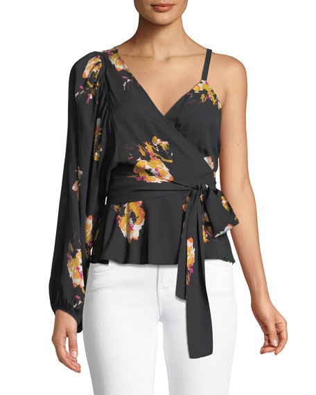 Mickalene One-Shoulder Floral Silk Wrap Top