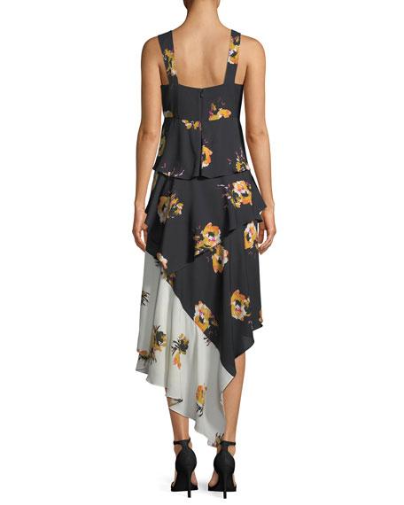 Natalia Tiered Floral Silk Dress